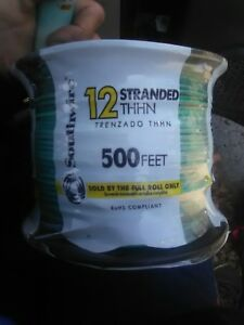 Southwire 22968258 500 ft 12 awg Stranded Green Copper Thhn Wire By roll New Fsh