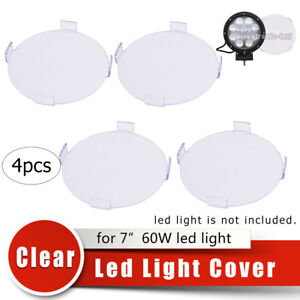 4x 7 Snap On Clear Light Lens Cover For 60w Led Work Driving Light Offroad 4wd