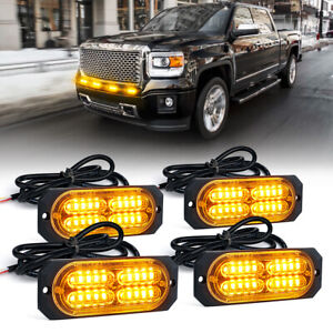 4pc Xprite Amber 4w Flush Mount Side Marker Beacon Strobe Flash Mini Light Bar