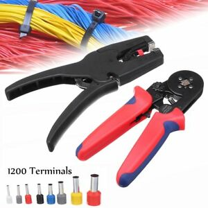 Black 1200pcs Terminal Kit Crimpong Tool Electric Wire Cutter Pliers Stripper