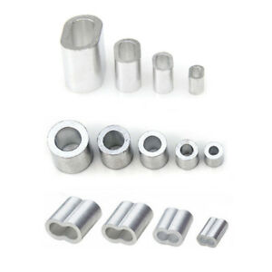 1mm 12mm Aluminium Clamp Ferrules Sleeves Wire Rope Round Double Hole Clip New