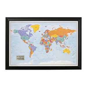 Personalized Push Pin World Travel Map With Black Frame And Pins Blue Oceans X