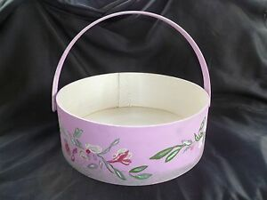 Hand Painted Wooden Flower Basket With Handle