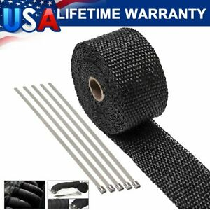 2 Roll Motorcycle Black Fiberglass Exhaust Header Pipe Heat Wrap Tape Ties Kit