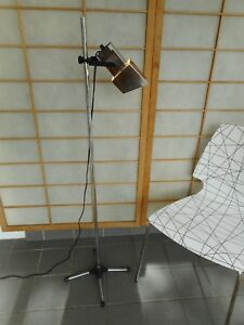 Vtg Chrome Pole Floor Lamps Square Adjustable Spotlight Mid Century Modern