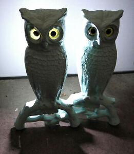 1890 S Antique 15 Cast Iron Owl Andirons Glass Eyes Fire Dogs 3000 2 Fireplace