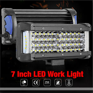 7in Led Work Light Bar Pods Driving Lamp Offroad Tractor 4wd 12v Sideshooter Fog