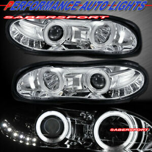 Set Of Eagle Eyes Projector Headlights W Smd Led Halo Rim For 1998 2002 Camaro