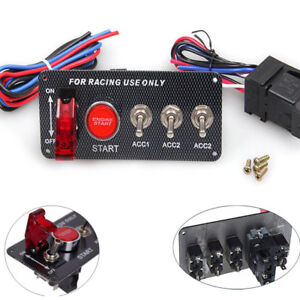 Ignition Switch For Racing Car Dc 12v Engine Start Led Push Button Toggle Pannel