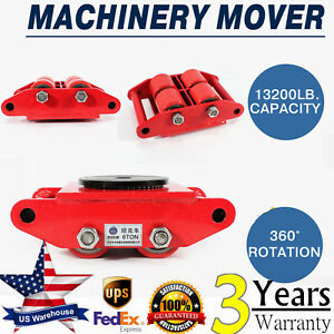 6t 4 rollers Heavy Duty Machine Dolly Skate Machinery Roller Mover Cargo Trolley