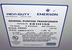 New Hevi duty 15 Kva Dry Transformer 480 Delta To 480 277 Wye