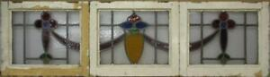 Set Of 3 Old English Leaded Stained Glass Windows Stunning Sweep 60 X 16 75