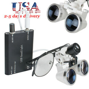 usa dental Surgical Medical Binocular Loupes 2 5x 420mm Led Head Light Lamp