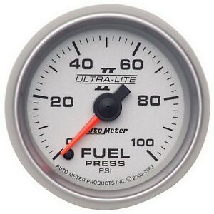 4963 Autometer Ultra Lite Ii 52mm 0 100 Psi Full Sweep Electronic Fuel Pressure
