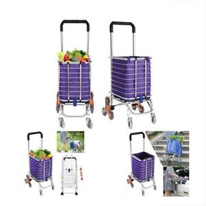 Folding Utility Carts Shopping Grocery Lightweight Stair Climbing With Rolling