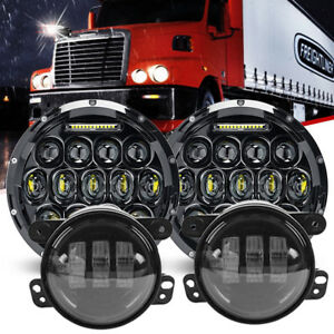 7 Led Cree Headlights Hi Lo Drl 4 Fog Light For Freightliner Century Class