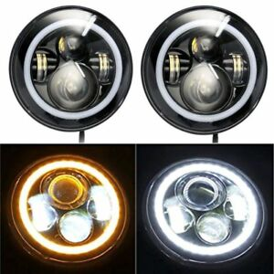 Pair 7 Inch Cree Led Headlight Angel Eyes Blue Halo Ring Drl Jeep Wrangler Jk