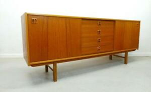 Mid Century Danish Modern Long Low Teak Credenza Sideboard With Center Drawers A