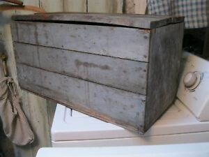Antique Primitive Wood Dry Blue Gray Paint Chest Box 26