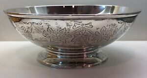 Unger Bros Sterling Silver Hand Engrave Floral Footed Bowl 281 Grams 8