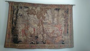 Antique Tapestry Hunt Scene French Aubussant