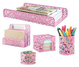 Pink Decor Office Home Accessories 5 piece Desk Organizer Set For All Your Sup