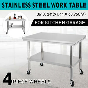 36 x24 Stainless Steel Work Table 4 Casters 2 Tier Bar Worktable Stability