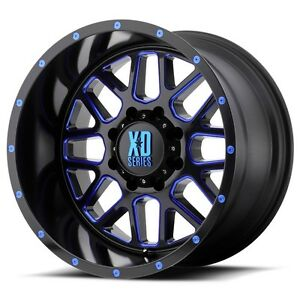 20 Inch Black Blue Wheels Rims Lifted Gmc Sierra 2500 3500 Truck 20x10 Xd820 4