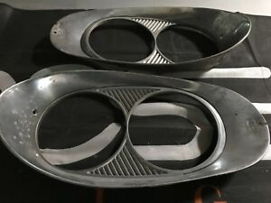 1958 Lincoln Oem Lh Rh Head Light Ring Bezel Pair