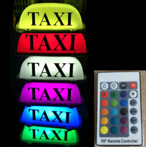 Taxi Cab Top Sign Car Driver Roof Light Remote Color Change Rechargeable Battery