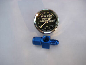 Nos Nx Zex Edelbrock Holley Chrome Nitrous Gauge 4an Blue Swivel Fitting New