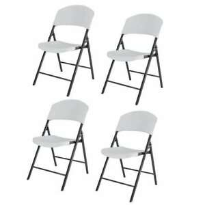 Lifetime Lightweight Plastic Folding Chairs White 4 Piece used