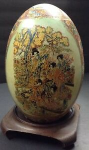 Antique Satsuma Egg With Stand Unique Asian Large Floral 10