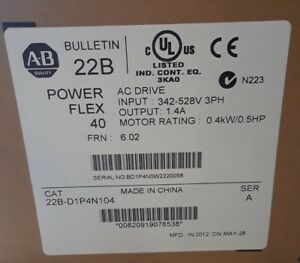 Allen Bradley 22b d1p4n104 Powerflex 40 Ac Drive 342 528v 3ph Brand New Sealed