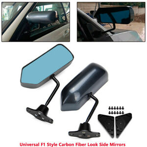 2pcs F1 Carbon Fiber Look Side Mirrors For Rav4 Miata Mx5 Mazda3 Rx7 Sxe10 G35