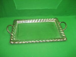 Vintage Large Rectangular Silver Plated Serving Platter Tray With Mirror Look