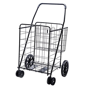 Extra Large Heavy Duty Flat Folding Cart Shopping Grocery Laundry Double Basket