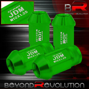 M12x1 25mm 4pc Green Open Ended Jdm Sport Green Alloy Steel Lug Nuts Universal