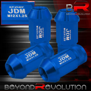 M12x1 25mm 4pc Blue Open End Jdm Sport Blue Alloy Steel Lug Nuts Set