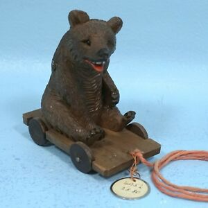 Antique Swiss Black Forest Wood Carving Bear On Wagon Cart Pull Toy C1920 Brienz