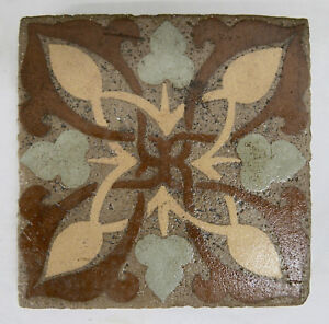 Contemporary Tile Arts Crafts Leaf Pattern