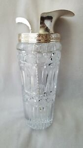 Mcm Vintage Cut Crystal Glass Silver Plate Drink Cocktail Pitcher W Mixer 9 T