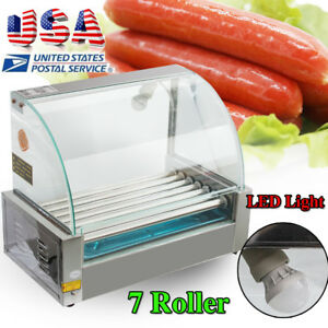 18 Hot Dog 7 Roller Grill Stainless Steel Cooker Machine W cover Dust Shield Led