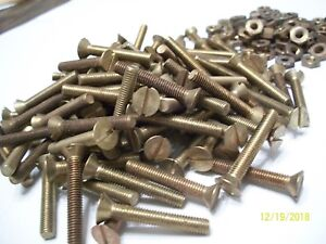 36 Vintage Brass 1 1 4 Long X 3 16 10 32 Slotted Flat Head Machine Bolts