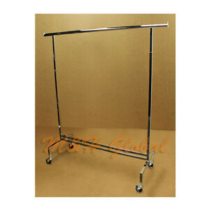 81 Adjustable Single Bar Clothes Hanger Rack Retail Garment Display With Wheels