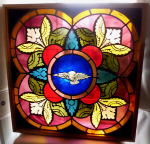 Antique Church Stained Glass Window Architectural Salvage Holy Ghost Dove 1872