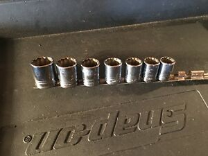 Snap On 7pc 1 2 Dr Sae 12pt Shallow Socket Set 3 4 To 1 1 8