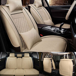 Beige Tan Car Seat Cover Deluxe Pu Leather Seat Cushion Mat 5 Seats Universal