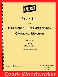 Hardinge Hc Hct Hcat Hcr Hcat r Hot Rod Chucker Lathe Parts Manual 1234