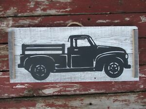 Primitive Look Metal Old Truck Wall Decor Vintage Antique Weathered Wood Sign